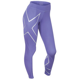 2XU W's Mid-Rise Compression Tights Imperial Purple/Silver logo